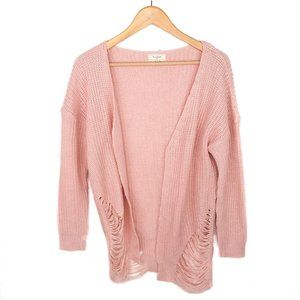 No Comment Pink Ribbed Open Front Cardigan